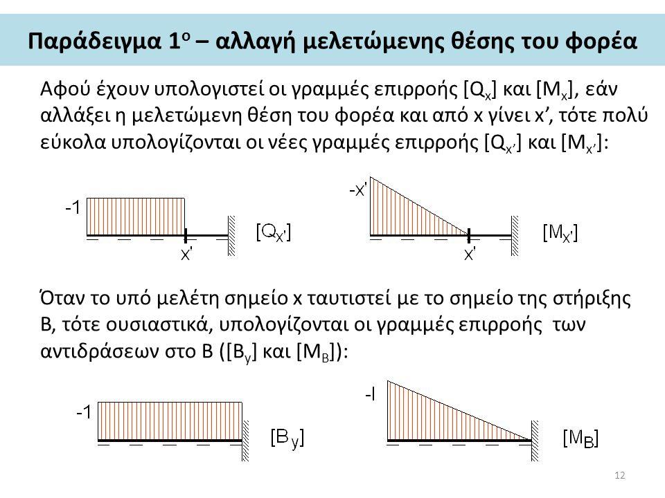 Παράδειγμα 1 ο – αλλαγή μελετώμενης θέσης του φορέα Αφού έχουν υπολογιστεί οι γραμμές επιρροής [Q x ] και [Μ x ], εάν αλλάξει η μελετώμενη θέση του φορέα και από x γίνει x', τότε πολύ εύκολα υπολογίζονται οι νέες γραμμές επιρροής [Q x' ] και [Μ x' ]: Όταν το υπό μελέτη σημείο x ταυτιστεί με το σημείο της στήριξης Β, τότε ουσιαστικά, υπολογίζονται οι γραμμές επιρροής των αντιδράσεων στο Β ([B y ] και [Μ B ]): 12