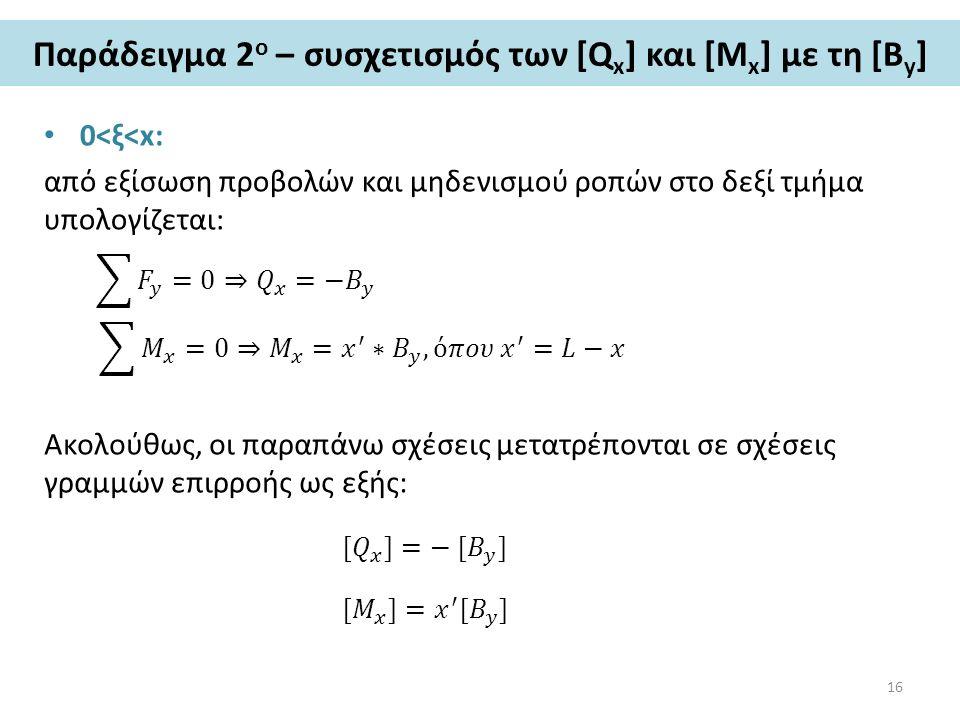 Παράδειγμα 2 ο – συσχετισμός των [Q x ] και [M x ] με τη [Β y ] 0<ξ<x: από εξίσωση προβολών και μηδενισμού ροπών στο δεξί τμήμα υπολογίζεται: Ακολούθως, οι παραπάνω σχέσεις μετατρέπονται σε σχέσεις γραμμών επιρροής ως εξής: 16