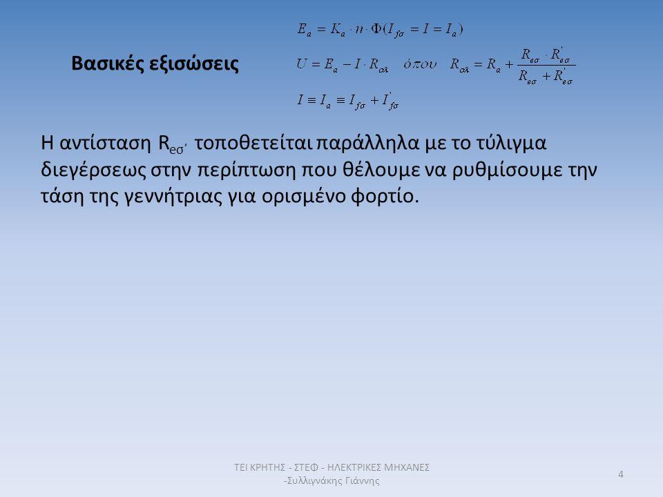 4 Βασικές εξισώσεις Η αντίσταση R eσ΄ τοποθετείται παράλληλα με το τύλιγμα διεγέρσεως στην περίπτωση που θέλουμε να ρυθμίσουμε την τάση της γεννήτριας για ορισμένο φορτίο.