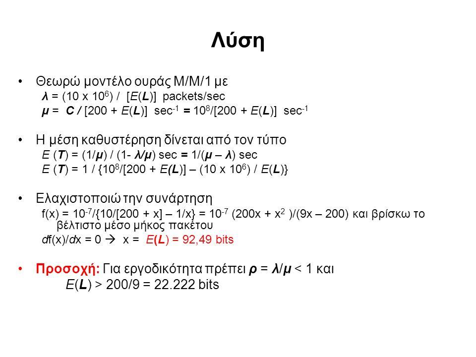 Λύση Θεωρώ μοντέλο ουράς Μ/Μ/1 με λ = (10 x 10 6 ) / [E(L)] packets/sec μ = C / [200 + E(L)] sec -1 = 10 8 /[200 + E(L)] sec -1 Η μέση καθυστέρηση δίνεται από τον τύπο E (T) = (1/μ) / (1- λ/μ) sec = 1/(μ – λ) sec E (T) = 1 / {10 8 /[200 + E(L)] – (10 x 10 6 ) / E(L)} Ελαχιστοποιώ την συνάρτηση f(x) = 10 -7 /{10/[200 + x] – 1/x} = 10 -7 (200x + x 2 )/(9x – 200) και βρίσκω το βέλτιστο μέσο μήκος πακέτου df(x)/dx = 0  x = E(L) = 92,49 bits Προσοχή: Για εργοδικότητα πρέπει ρ = λ/μ < 1 και Ε(L) > 200/9 = 22.222 bits