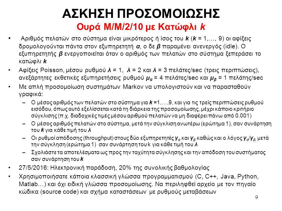 ΑΣΚΗΣΗ ΠΡΟΣΟΜΟΙΩΣΗΣ Ουρά Μ/Μ/2/10 με Κατώφλι k Αριθμός πελατών στο σύστημα είναι μικρότερος ή ίσος του k (k = 1,…, 9) οι αφίξεις δρομολογούνται πάντα στον εξυπηρετητή α, ο δε β παραμένει ανενεργός (idle).