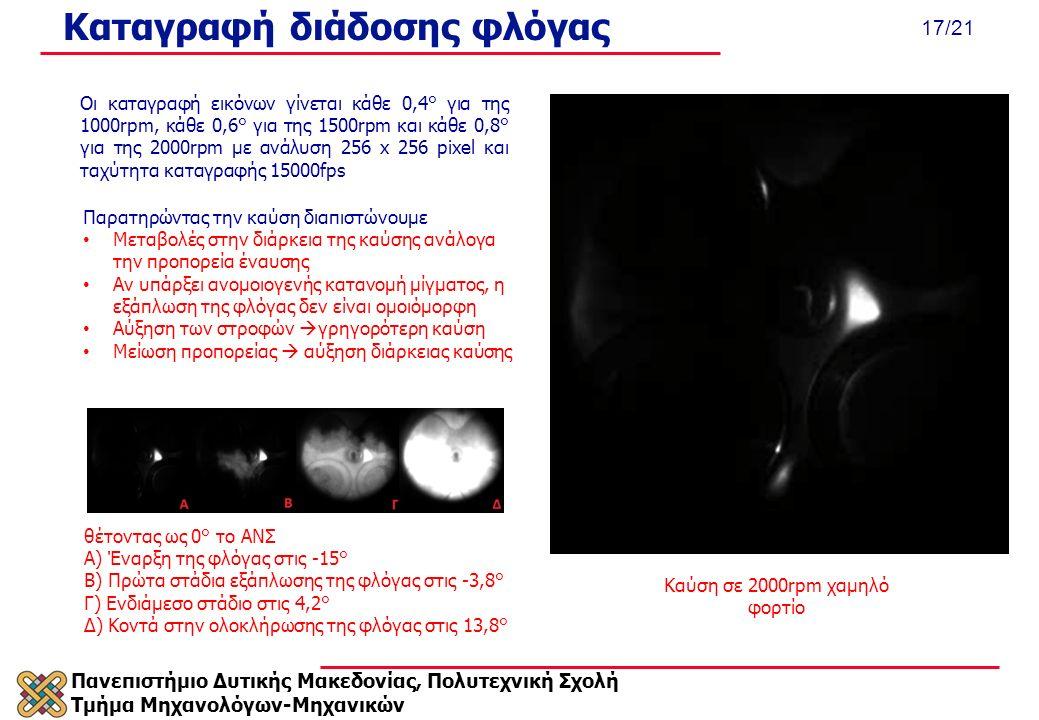 Πανεπιστήμιο Δυτικής Μακεδονίας, Πολυτεχνική Σχολή Τμήμα Μηχανολόγων-Μηχανικών 17/21 Καταγραφή διάδοσης φλόγας Καύση σε 2000rpm χαμηλό φορτίο θέτοντας ως 0° το ΑΝΣ Α) Έναρξη της φλόγας στις -15° Β) Πρώτα στάδια εξάπλωσης της φλόγας στις -3,8° Γ) Ενδιάμεσο στάδιο στις 4,2° Δ) Κοντά στην ολοκλήρωσης της φλόγας στις 13,8° Οι καταγραφή εικόνων γίνεται κάθε 0,4° για της 1000rpm, κάθε 0,6° για της 1500rpm και κάθε 0,8° για της 2000rpm με ανάλυση 256 x 256 pixel και ταχύτητα καταγραφής 15000fps Παρατηρώντας την καύση διαπιστώνουμε Μεταβολές στην διάρκεια της καύσης ανάλογα την προπορεία έναυσης Αν υπάρξει ανομοιογενής κατανομή μίγματος, η εξάπλωση της φλόγας δεν είναι ομοιόμορφη Αύξηση των στροφών  γρηγορότερη καύση Μείωση προπορείας  αύξηση διάρκειας καύσης