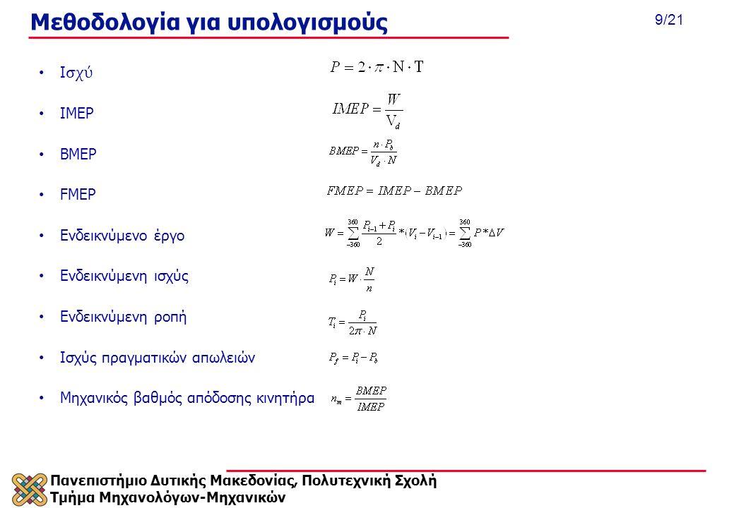 Πανεπιστήμιο Δυτικής Μακεδονίας, Πολυτεχνική Σχολή Τμήμα Μηχανολόγων-Μηχανικών 9/21 Μεθοδολογία για υπολογισμούς