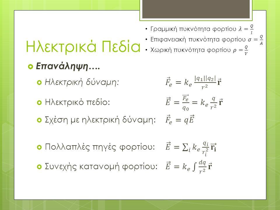  Παράδειγμα 1:  Μια ράβδος μήκους l έχει ομοιόμορφη κατανομή θετικού φορτίου ανά μονάδα μήκους λ και συνολικό φορτίο Q.