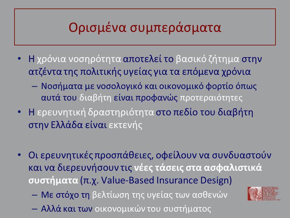 Ορισμένα συμπεράσματα Η χρόνια νοσηρότητα αποτελεί το βασικό ζήτημα στην ατζέντα της πολιτικής υγείας για τα επόμενα χρόνια – Νοσήματα με νοσολογικό και οικονομικό φορτίο όπως αυτά του διαβήτη είναι προφανώς προτεραιότητες Η ερευνητική δραστηριότητα στο πεδίο του διαβήτη στην Ελλάδα είναι εκτενής Οι ερευνητικές προσπάθειες, οφείλουν να συνδυαστούν και να διερευνήσουν τις νέες τάσεις στα ασφαλιστικά συστήματα (π.χ.