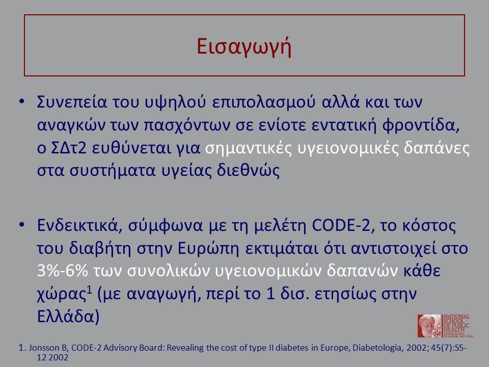 Σακχαρώδης διαβήτης και κόστος: δεδομένα από την Ελλάδα