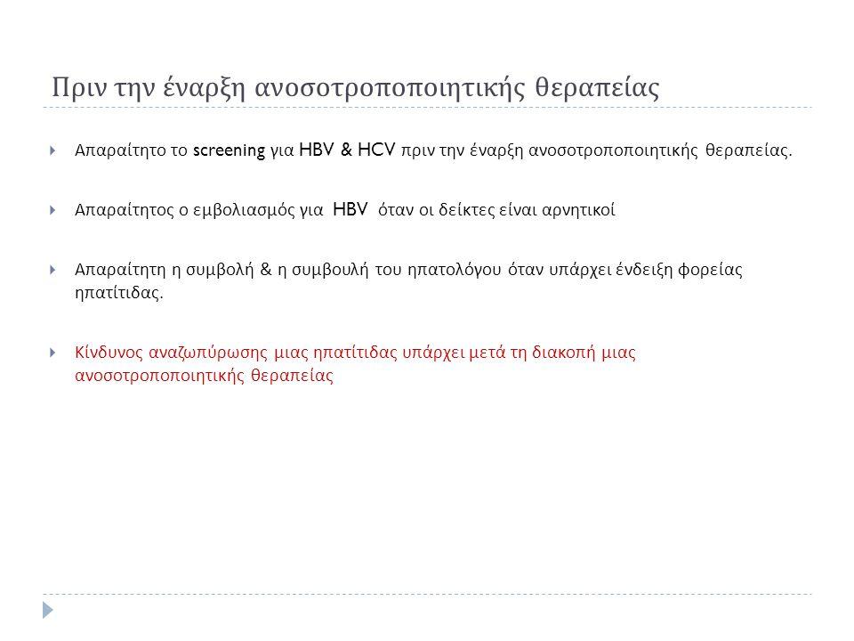 Πριν την έναρξη ανοσοτροποποιητικής θεραπείας  Απαραίτητο το screening για HBV & HCV πριν την έναρξη ανοσοτροποποιητικής θεραπείας.  Απαραίτητος ο ε