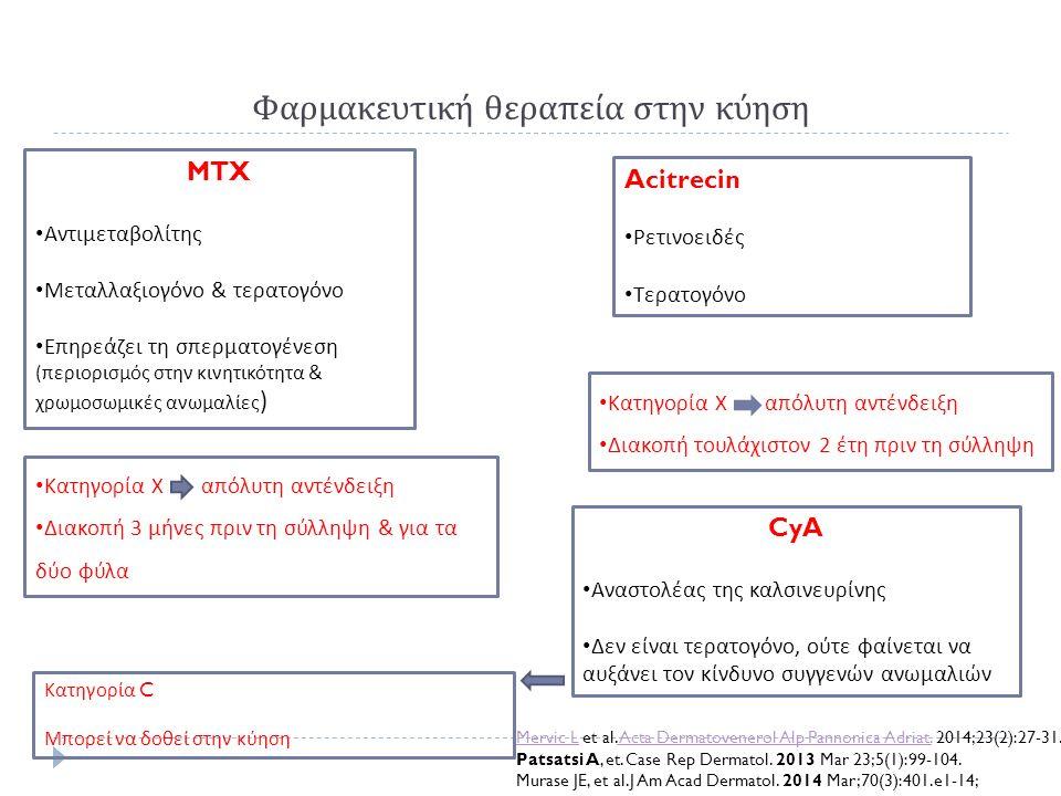 Φαρμακευτική θεραπεία στην κύηση MTX Αντιμεταβολίτης Μεταλλαξιογόνο & τερατογόνο Επηρεάζει τη σπερματογένεση ( περιορισμός στην κινητικότητα & χρωμοσω