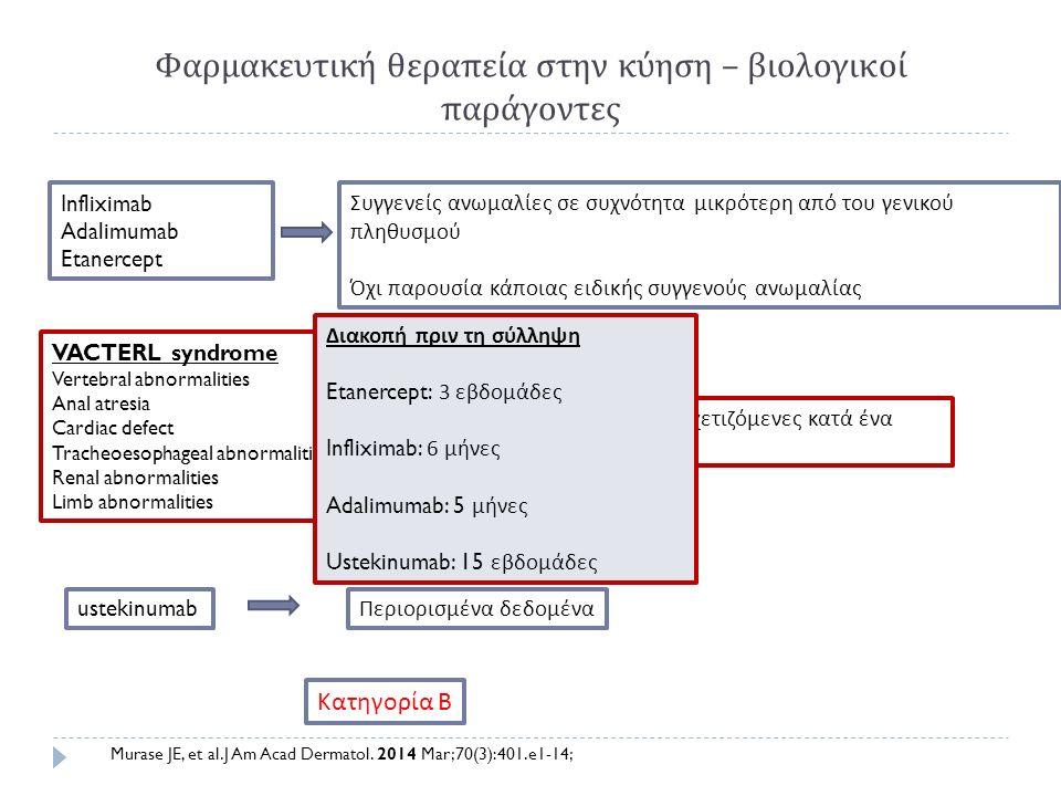 Φαρμακευτική θεραπεία στην κύηση – βιολογικοί παράγοντες Infliximab Adalimumab Etanercept Συγγενείς ανωμαλίες σε συχνότητα μικρότερη από του γενικού π