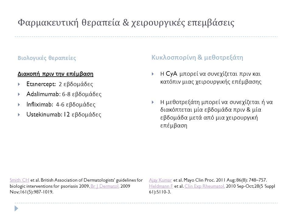 Φαρμακευτική θεραπεία & χειρουργικές επεμβάσεις Βιολογικές θεραπείες Κυκλοσπορίνη & μεθοτρεξάτη Διακοπή πριν την επέμβαση  Etanercept: 2 εβδομάδες 