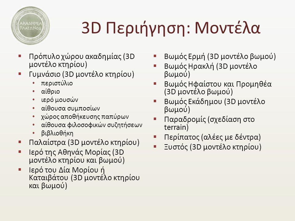 3D Περιήγηση: Μοντέλα  Πρόπυλο χώρου ακαδημίας (3D μοντέλο κτηρίου)  Γυμνάσιο (3D μοντέλο κτηρίου) περιστύλιο αίθριο ιερό μουσών αίθουσα συμποσίων χώρος αποθήκευσης παπύρων αίθουσα φιλοσοφικών συζητήσεων βιβλιοθήκη  Παλαίστρα (3D μοντέλο κτηρίου)  Ιερό της Αθηνάς Μορίας (3D μοντέλο κτηρίου και βωμού)  Ιερό του Δία Μορίου ή Καταιβάτου (3D μοντέλο κτηρίου και βωμού)  Βωμός Ερμή (3D μοντέλο βωμού)  Βωμός Ηρακλή (3D μοντέλο βωμού)  Βωμός Ηφαίστου και Προμηθέα (3D μοντέλο βωμού)  Βωμός Εκάδημου (3D μοντέλο βωμού)  Παραδρομίς (σχεδίαση στο terrain)  Περίπατος (αλέες με δέντρα)  Ξυστός (3D μοντέλο κτηρίου)