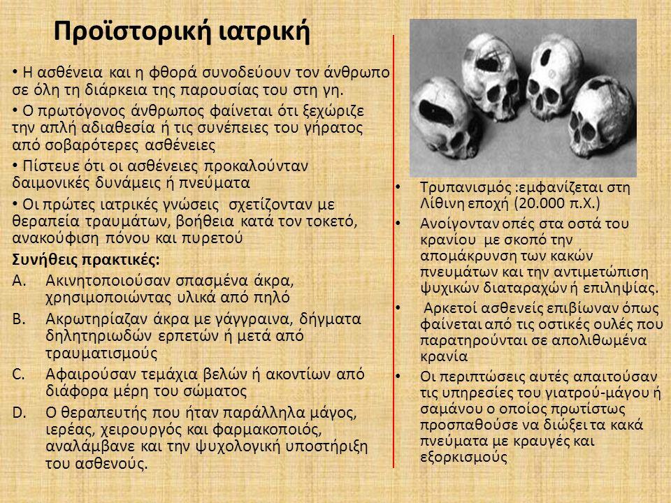 Προϊστορική ιατρική Τρυπανισμός :εμφανίζεται στη Λίθινη εποχή (20.000 π.X.) Ανοίγονταν οπές στα οστά του κρανίου με σκοπό την απομάκρυνση των κακών πν