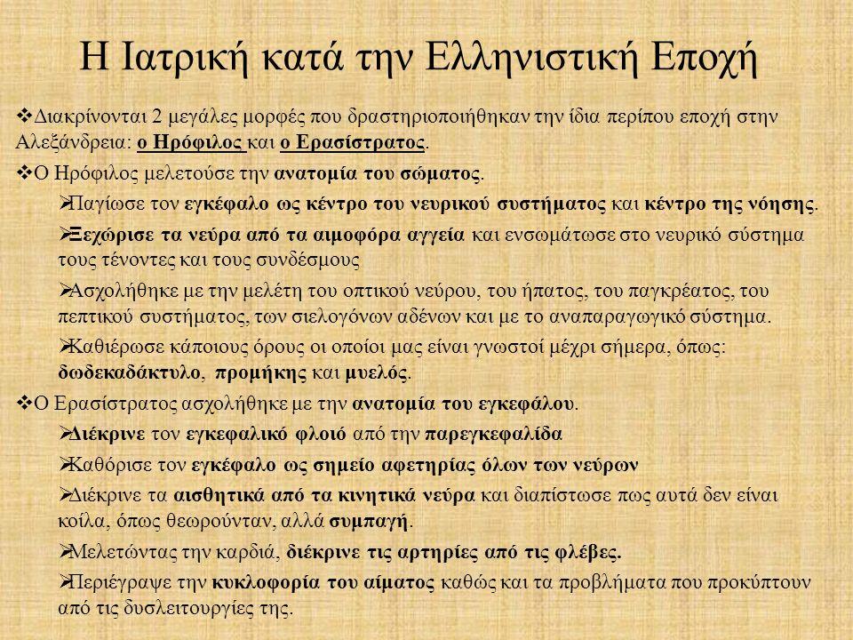  Διακρίνονται 2 μεγάλες μορφές που δραστηριοποιήθηκαν την ίδια περίπου εποχή στην Αλεξάνδρεια: ο Ηρόφιλος και ο Ερασίστρατος.  Ο Ηρόφιλος μελετούσε