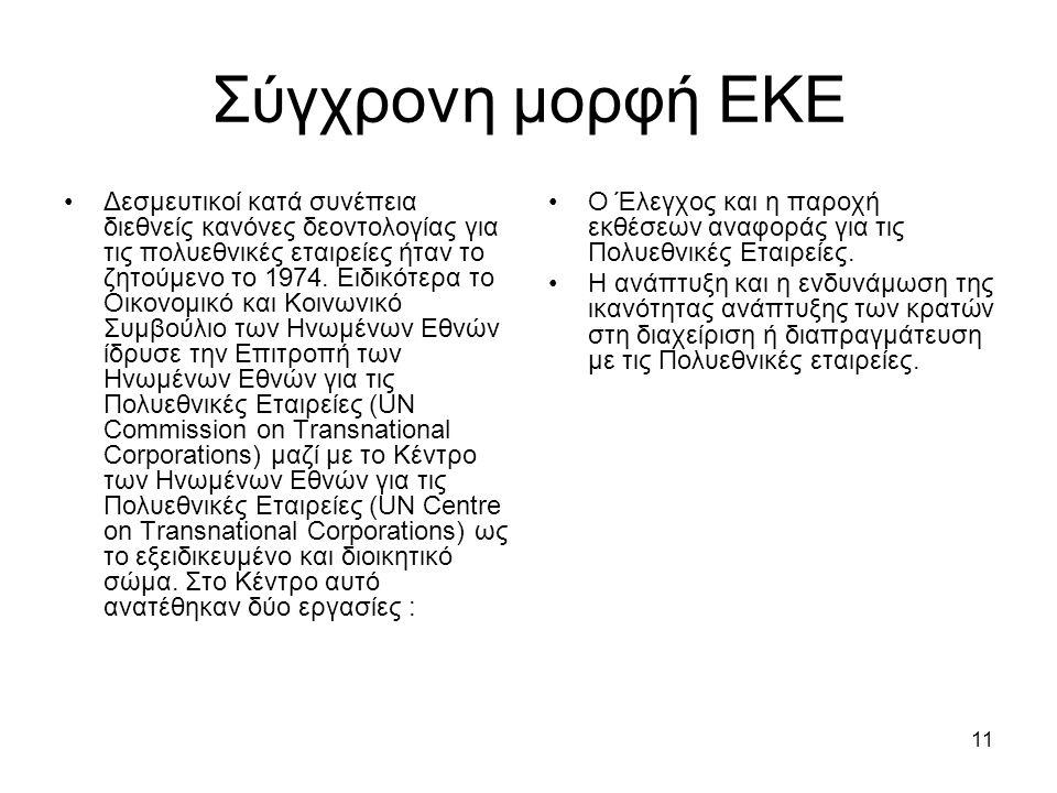 11 Σύγχρονη μορφή ΕΚΕ Δεσμευτικοί κατά συνέπεια διεθνείς κανόνες δεοντολογίας για τις πολυεθνικές εταιρείες ήταν το ζητούμενο το 1974.