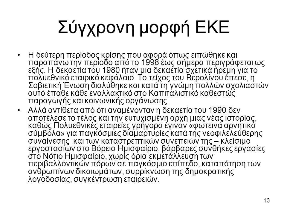 13 Σύγχρονη μορφή ΕΚΕ Η δεύτερη περίοδος κρίσης που αφορά όπως ειπώθηκε και παραπάνω την περίοδο από το 1998 έως σήμερα περιγράφεται ως εξής.