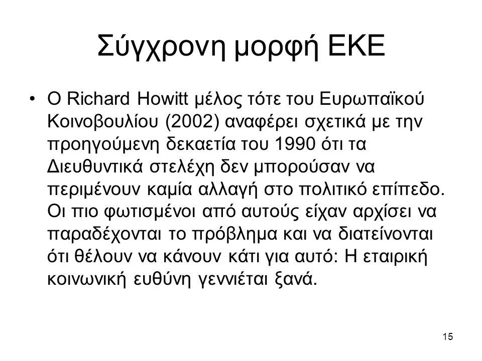 15 Σύγχρονη μορφή ΕΚΕ Ο Richard Howitt μέλος τότε του Ευρωπαϊκού Κοινοβουλίου (2002) αναφέρει σχετικά με την προηγούμενη δεκαετία του 1990 ότι τα Διευθυντικά στελέχη δεν μπορούσαν να περιμένουν καμία αλλαγή στο πολιτικό επίπεδο.