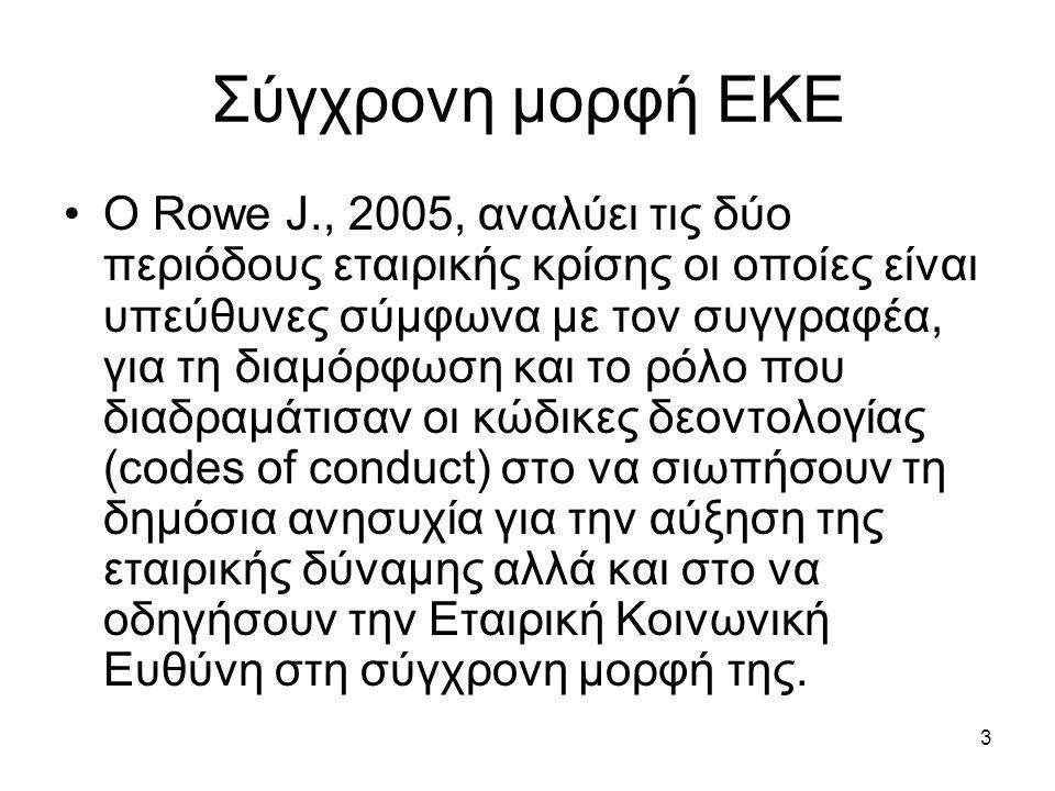 3 Σύγχρονη μορφή ΕΚΕ Ο Rowe J., 2005, αναλύει τις δύο περιόδους εταιρικής κρίσης οι οποίες είναι υπεύθυνες σύμφωνα με τον συγγραφέα, για τη διαμόρφωση και το ρόλο που διαδραμάτισαν οι κώδικες δεοντολογίας (codes of conduct) στο να σιωπήσουν τη δημόσια ανησυχία για την αύξηση της εταιρικής δύναμης αλλά και στο να οδηγήσουν την Εταιρική Κοινωνική Ευθύνη στη σύγχρονη μορφή της.