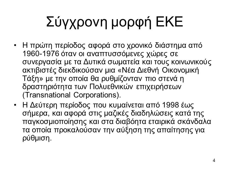 4 Σύγχρονη μορφή ΕΚΕ Η πρώτη περίοδος αφορά στο χρονικό διάστημα από 1960-1976 όταν οι αναπτυσσόμενες χώρες σε συνεργασία με τα Δυτικά σωματεία και τους κοινωνικούς ακτιβιστές διεκδικούσαν μια «Νέα Διεθνή Οικονομική Τάξη» με την οποία θα ρυθμίζονταν πιο στενά η δραστηριότητα των Πολυεθνικών επιχειρήσεων (Transnational Corporations).