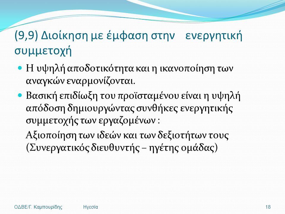 (9,9) Διοίκηση με έμφαση στην ενεργητική συμμετοχή Η υψηλή αποδοτικότητα και η ικανοποίηση των αναγκών εναρμονίζονται.
