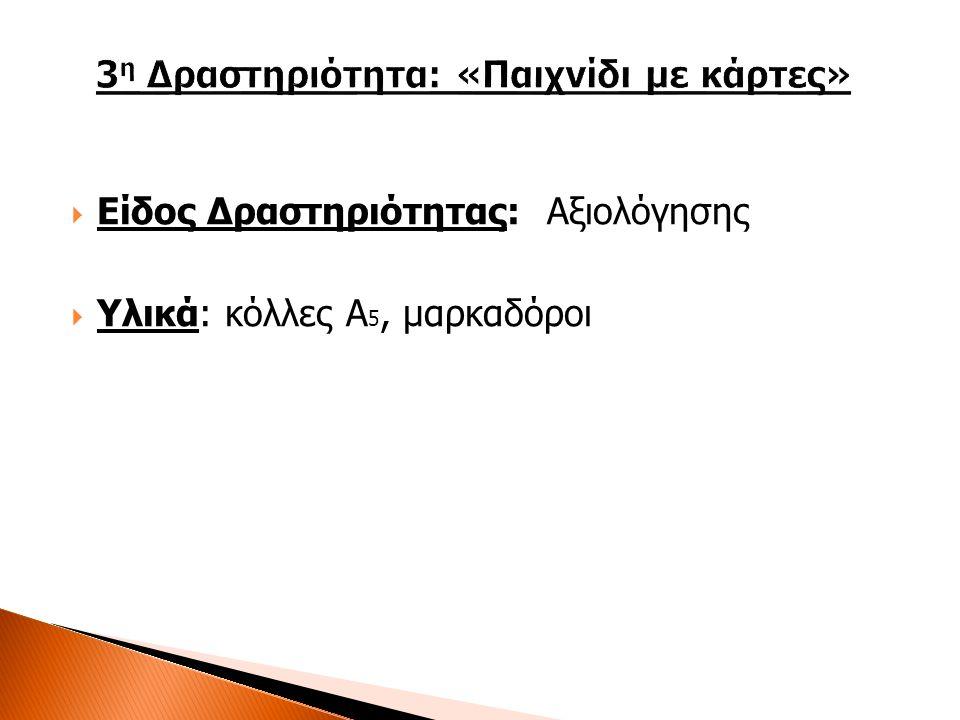  Είδος Δραστηριότητας: Αξιολόγησης  Υλικά: κόλλες Α 5, μαρκαδόροι
