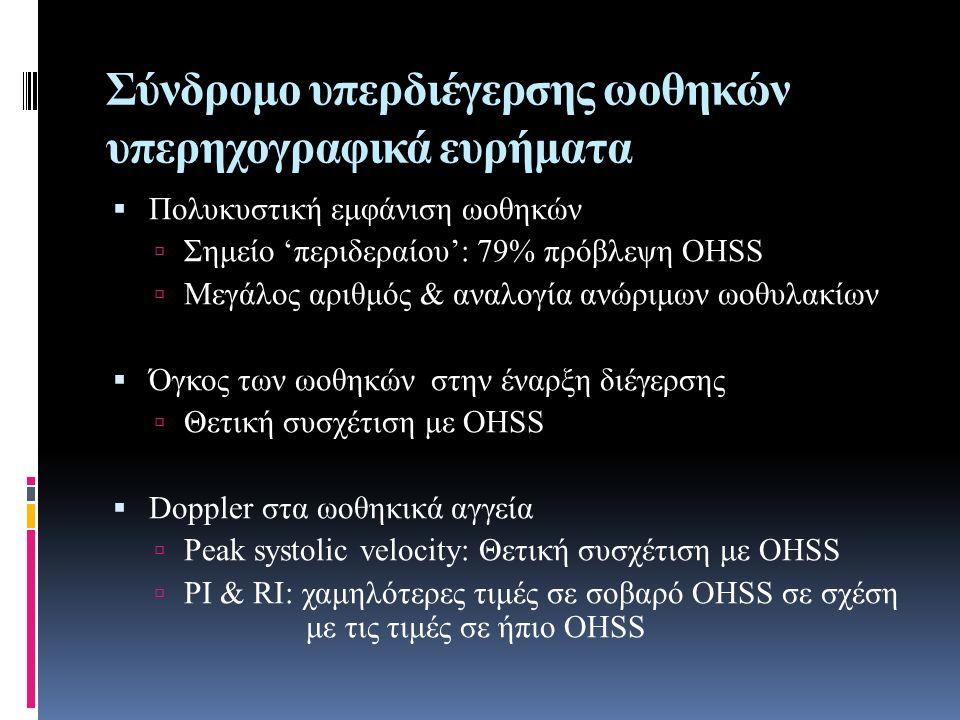 Σύνδρομο υπερδιέγερσης ωοθηκών υπερηχογραφικά ευρήματα  Πολυκυστική εμφάνιση ωοθηκών  Σημείο 'περιδεραίου': 79% πρόβλεψη OHSS  Μεγάλος αριθμός & αναλογία ανώριμων ωοθυλακίων  Όγκος των ωοθηκών στην έναρξη διέγερσης  Θετική συσχέτιση με OHSS  Doppler στα ωοθηκικά αγγεία  Peak systolic velocity: Θετική συσχέτιση με ΟΗSS  PI & RI: χαμηλότερες τιμές σε σοβαρό OHSS σε σχέση με τις τιμές σε ήπιο OHSS