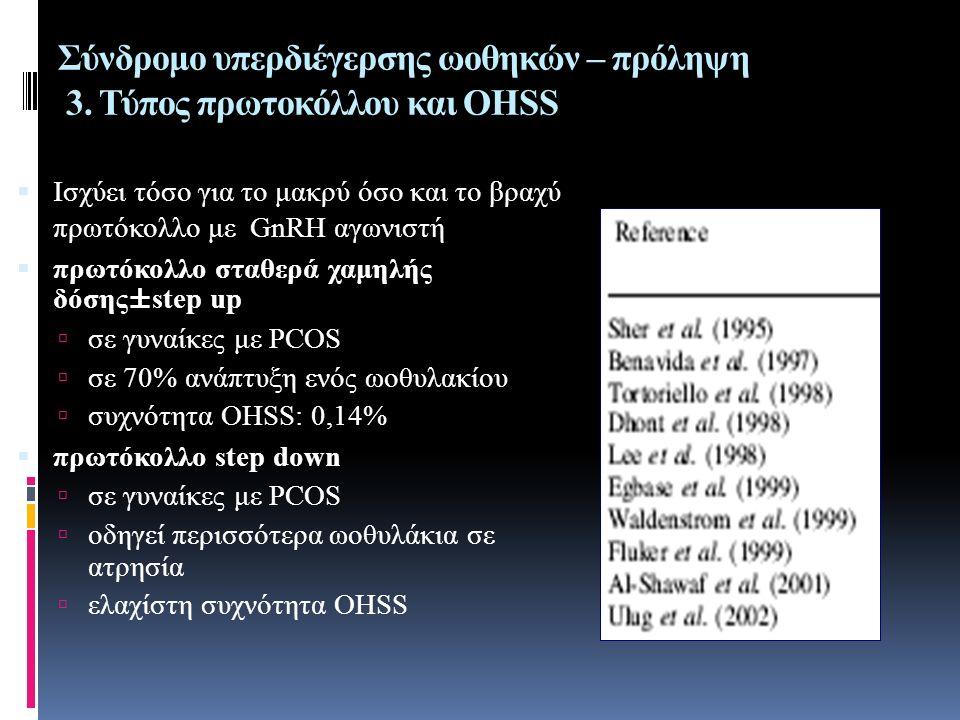 Σύνδρομο υπερδιέγερσης ωοθηκών – πρόληψη 3. Τύπος πρωτοκόλλου και OHSS  Ισχύει τόσο για το μακρύ όσο και το βραχύ πρωτόκολλο με GnRH αγωνιστή  πρωτό