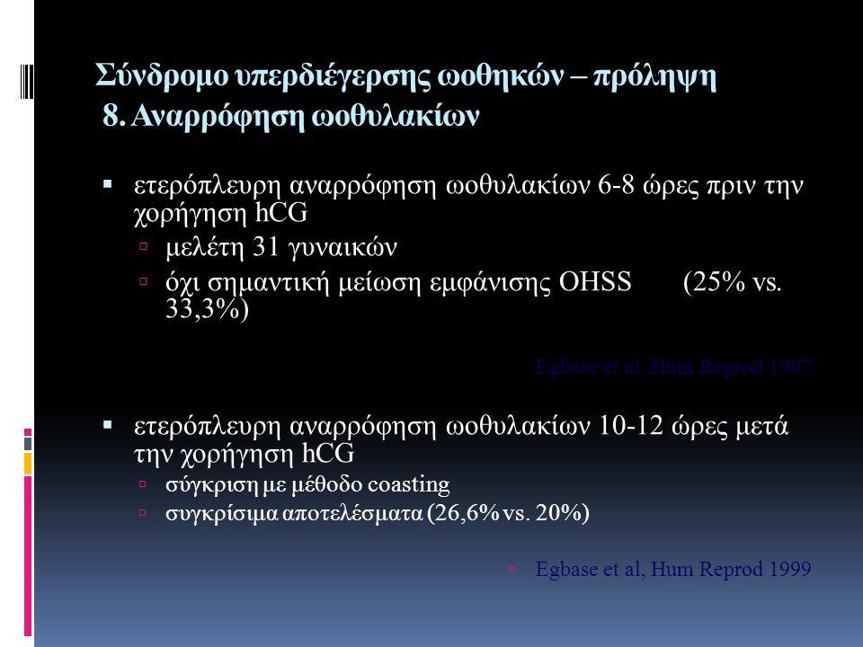 Σύνδρομο υπερδιέγερσης ωοθηκών – πρόληψη 8. Αναρρόφηση ωοθυλακίων  ετερόπλευρη αναρρόφηση ωοθυλακίων 6-8 ώρες πριν την χορήγηση hCG  μελέτη 31 γυναι
