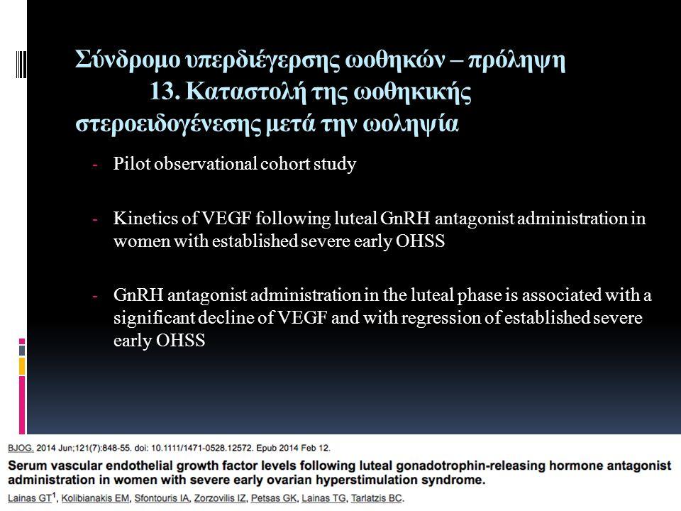 Σύνδρομο υπερδιέγερσης ωοθηκών – πρόληψη 13. Καταστολή της ωοθηκικής στεροειδογένεσης μετά την ωοληψία - Pilot observational cohort study - Kinetics o