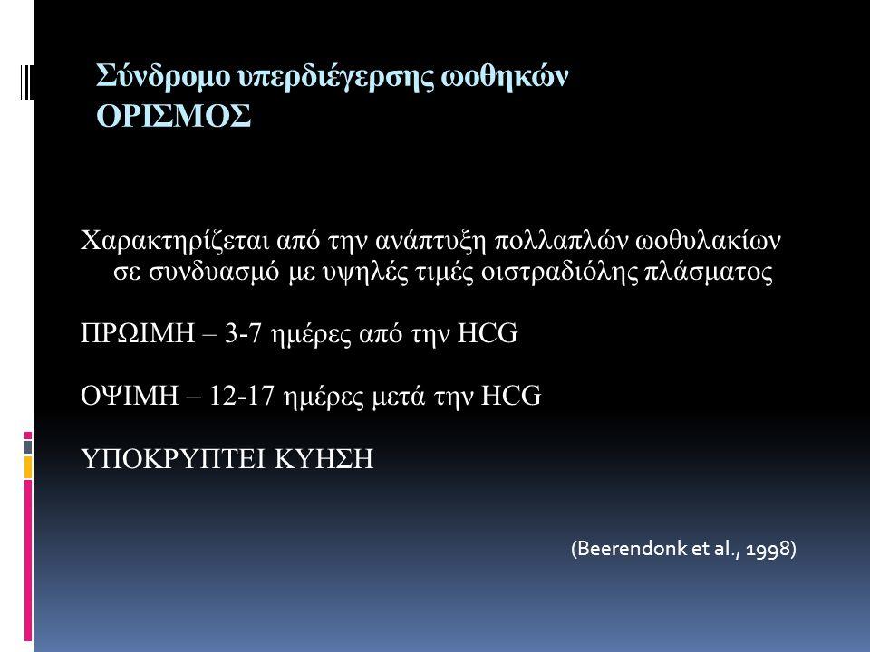Σύνδρομο υπερδιέγερσης ωοθηκών ΟΡΙΣΜΟΣ Χαρακτηρίζεται από την ανάπτυξη πολλαπλών ωοθυλακίων σε συνδυασμό με υψηλές τιμές οιστραδιόλης πλάσματος ΠΡΩΙΜΗ – 3-7 ημέρες από την ΗCG ΟΨΙΜΗ – 12-17 ημέρες μετά την ΗCG ΥΠΟΚΡΥΠΤΕΙ ΚΥΗΣΗ (Beerendonk et al., 1998)