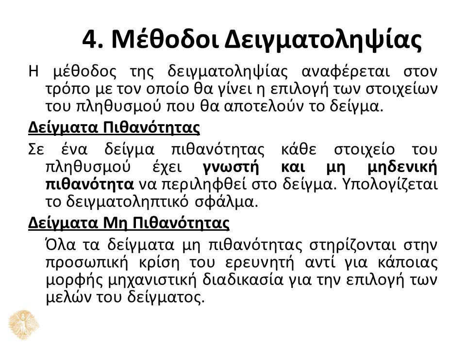 4. Μέθοδοι Δειγματοληψίας Η μέθοδος της δειγματοληψίας αναφέρεται στον τρόπο με τον οποίο θα γίνει η επιλογή των στοιχείων του πληθυσμού που θα αποτελ