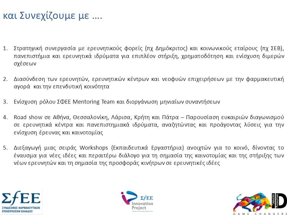 1.Στρατηγική συνεργασία με ερευνητικούς φορείς (πχ Δημόκριτος) και κοινωνικούς εταίρους (πχ ΣΕΒ), πανεπιστήμια και ερευνητικά ιδρύματα για επιπλέον στήριξη, χρηματοδότηση και ενίσχυση διμερών σχέσεων 2.Διασύνδεση των ερευνητών, ερευνητικών κέντρων και νεοφυών επιχειρήσεων με την φαρμακευτική αγορά και την επενδυτική κοινότητα 3.Ενίσχυση ρόλου ΣΦΕΕ Mentoring Team και διοργάνωση μηνιαίων συναντήσεων 4.Road show σε Αθήνα, Θεσσαλονίκη, Λάρισα, Κρήτη και Πάτρα – Παρουσίαση ευκαιριών διαγωνισμού σε ερευνητικά κέντρα και πανεπιστημιακά ιδρύματα, αναζητώντας και προάγοντας λύσεις για την ενίσχυση έρευνας και καινοτομίας 5.Διεξαγωγή μιας σειράς Workshops (Εκπαιδευτικά Εργαστήρια) ανοιχτών για το κοινό, δίνοντας το έναυσμα για νέες ιδέες και περαιτέρω διάλογο για τη σημασία της καινοτομίας και της στήριξης των νέων ερευνητών και τη σημασία της προσφοράς κινήτρων σε ερευνητικές ιδέες και Συνεχίζουμε με ….