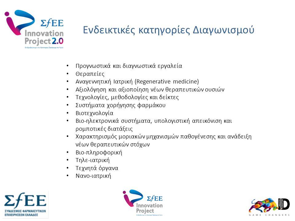Ενδεικτικές κατηγορίες Διαγωνισμού www.innovationproject.gr Γηριατρική Προγνωστικά και διαγνωστικά εργαλεία Θεραπείες Αναγεννητική Ιατρική (Regenerative medicine) Αξιολόγηση και αξιοποίηση νέων θεραπευτικών ουσιών Τεχνολογίες, μεθοδολογίες και δείκτες Συστήματα χορήγησης φαρμάκου Βιοτεχνολογία Βιο-ηλεκτρονικά συστήματα, υπολογιστική απεικόνιση και ρομποτικές διατάξεις Χαρακτηρισμός μοριακών μηχανισμών παθογένεσης και ανάδειξη νέων θεραπευτικών στόχων Βιο-πληροφορική Τηλε-ιατρική Τεχνητά όργανα Νανο-ιατρική