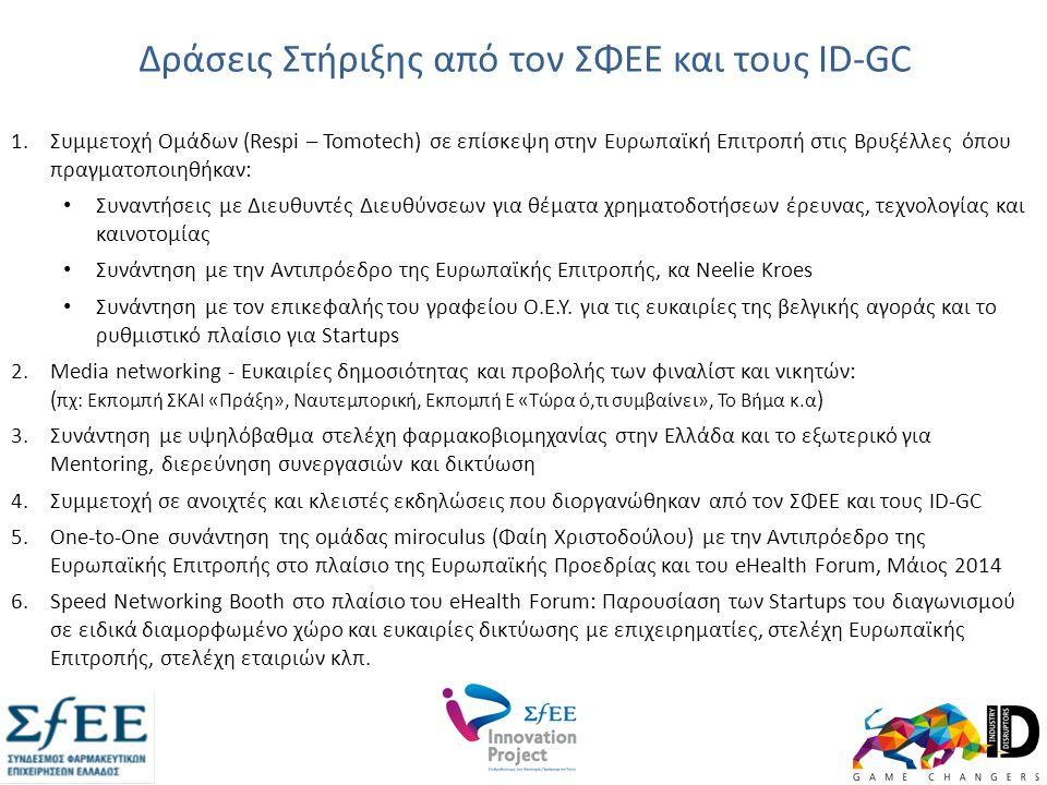 Δράσεις Στήριξης από τον ΣΦΕΕ και τους ID-GC 1.Συμμετοχή Oμάδων (Respi – Tomotech) σε επίσκεψη στην Ευρωπαϊκή Επιτροπή στις Βρυξέλλες όπου πραγματοποιηθήκαν: Συναντήσεις με Διευθυντές Διευθύνσεων για θέματα χρηματοδοτήσεων έρευνας, τεχνολογίας και καινοτομίας Συνάντηση με την Αντιπρόεδρο της Ευρωπαϊκής Επιτροπής, κα Neelie Kroes Συνάντηση με τον επικεφαλής του γραφείου Ο.Ε.Υ.