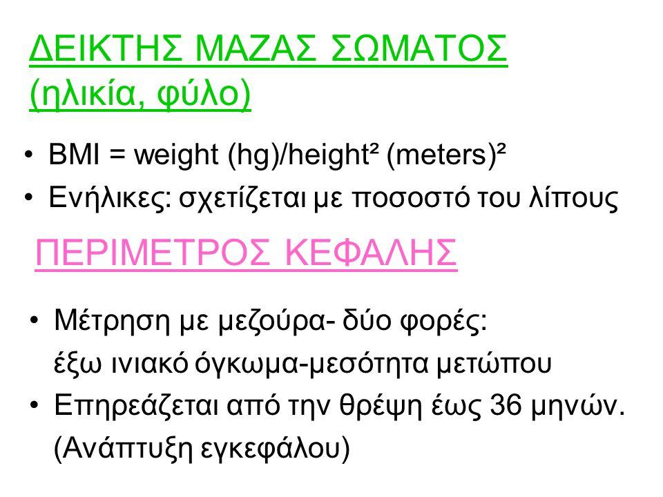 ΔΕΙΚΤΗΣ ΜΑΖΑΣ ΣΩΜΑΤΟΣ (ηλικία, φύλο) BMI = weight (hg)/height² (meters)² Ενήλικες: σχετίζεται με ποσοστό του λίπους ΠΕΡΙΜΕΤΡΟΣ ΚΕΦΑΛΗΣ Μέτρηση με μεζούρα- δύο φορές: έξω ινιακό όγκωμα-μεσότητα μετώπου Επηρεάζεται από την θρέψη έως 36 μηνών.