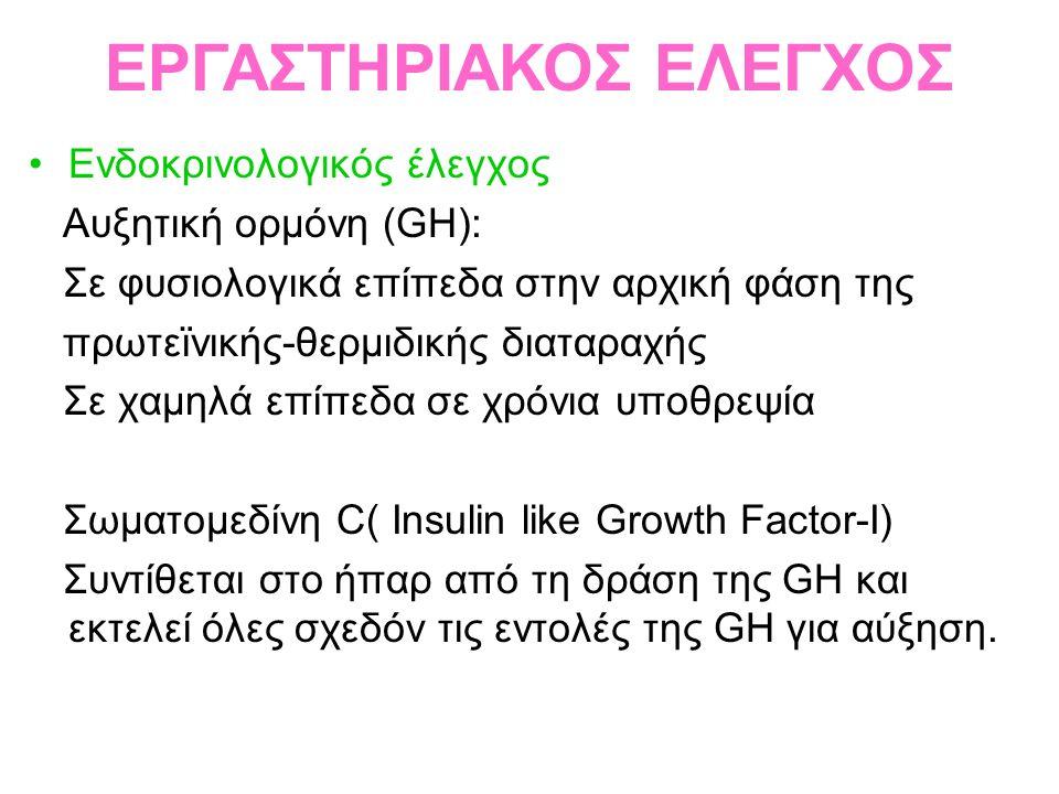 Ενδοκρινολογικός έλεγχος Αυξητική ορμόνη (GH): Σε φυσιολογικά επίπεδα στην αρχική φάση της πρωτεϊνικής-θερμιδικής διαταραχής Σε χαμηλά επίπεδα σε χρόνια υποθρεψία Σωματομεδίνη C( Insulin like Growth Factor-I) Συντίθεται στο ήπαρ από τη δράση της GH και εκτελεί όλες σχεδόν τις εντολές της GH για αύξηση.