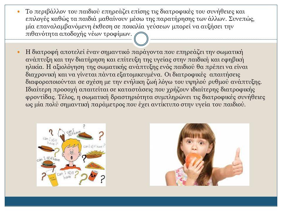 Το περιβάλλον του παιδιού επηρεάζει επίσης τις διατροφικές του συνήθειες και επιλογές καθώς τα παιδιά μαθαίνουν μέσω της παρατήρησης των άλλων. Συνεπώ
