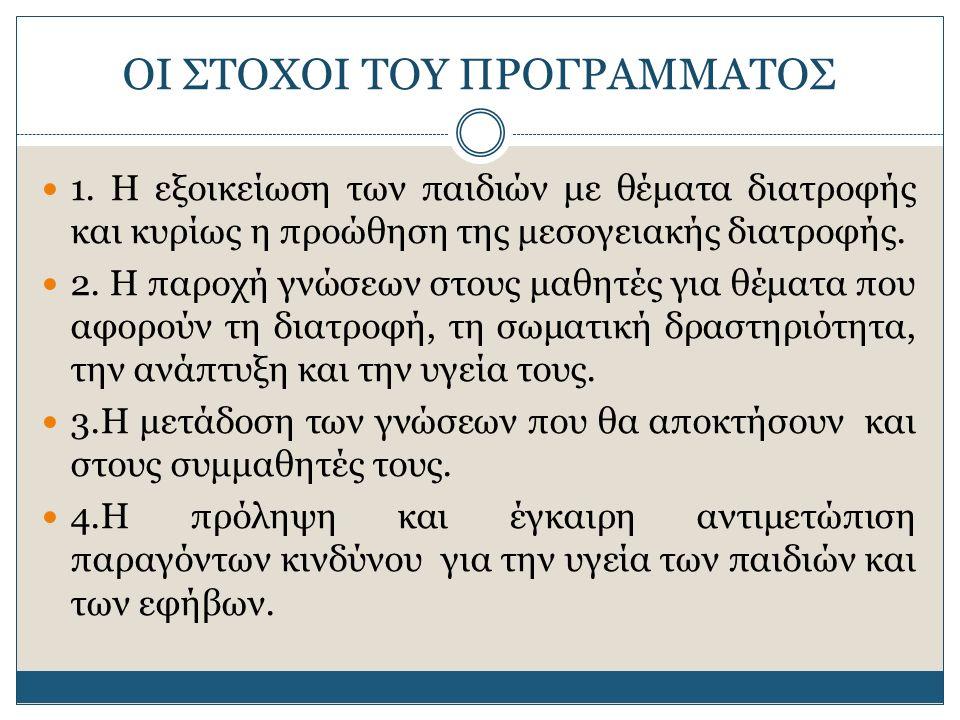 ΟΙ ΣΤΟΧΟΙ ΤΟΥ ΠΡΟΓΡΑΜΜΑΤΟΣ 1.