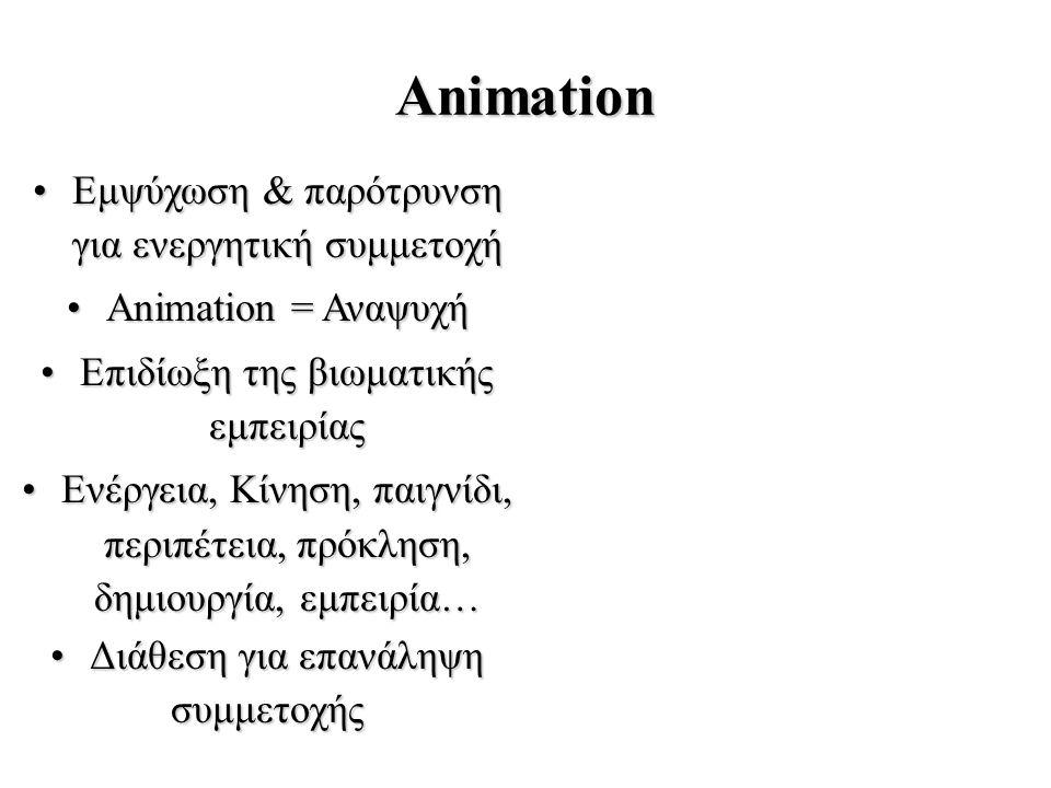 Animation Εμψύχωση & παρότρυνση για ενεργητική συμμετοχήΕμψύχωση & παρότρυνση για ενεργητική συμμετοχή Animation = ΑναψυχήAnimation = Αναψυχή Επιδίωξη της βιωματικής εμπειρίαςΕπιδίωξη της βιωματικής εμπειρίας Ενέργεια, Κίνηση, παιγνίδι, περιπέτεια, πρόκληση, δημιουργία, εμπειρία…Ενέργεια, Κίνηση, παιγνίδι, περιπέτεια, πρόκληση, δημιουργία, εμπειρία… Διάθεση για επανάληψηΔιάθεση για επανάληψησυμμετοχής
