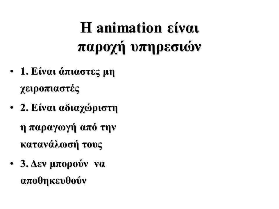 Η animation είναι παροχή υπηρεσιών 1. Είναι άπιαστες μη χειροπιαστές1.