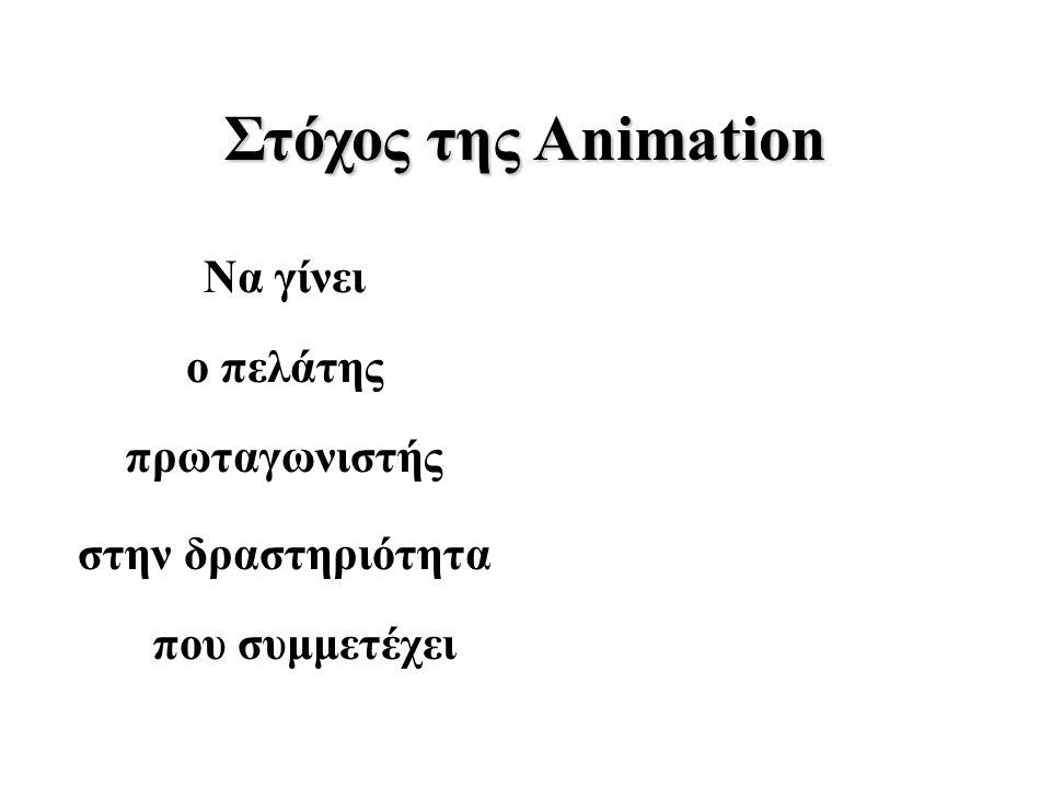 Στόχος της Animation Να γίνει ο πελάτης πρωταγωνιστής στην δραστηριότητα που συμμετέχει