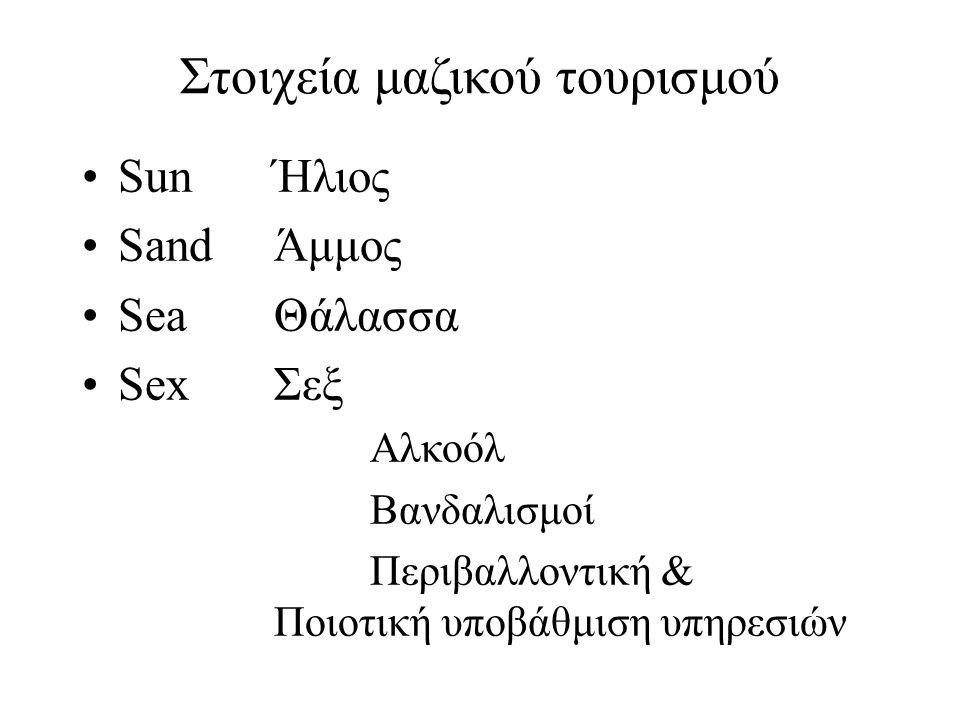 Στοιχεία μαζικού τουρισμού SunΉλιος SandΆμμος SeaΘάλασσα SexΣεξ Αλκοόλ Βανδαλισμοί Περιβαλλοντική & Ποιοτική υποβάθμιση υπηρεσιών