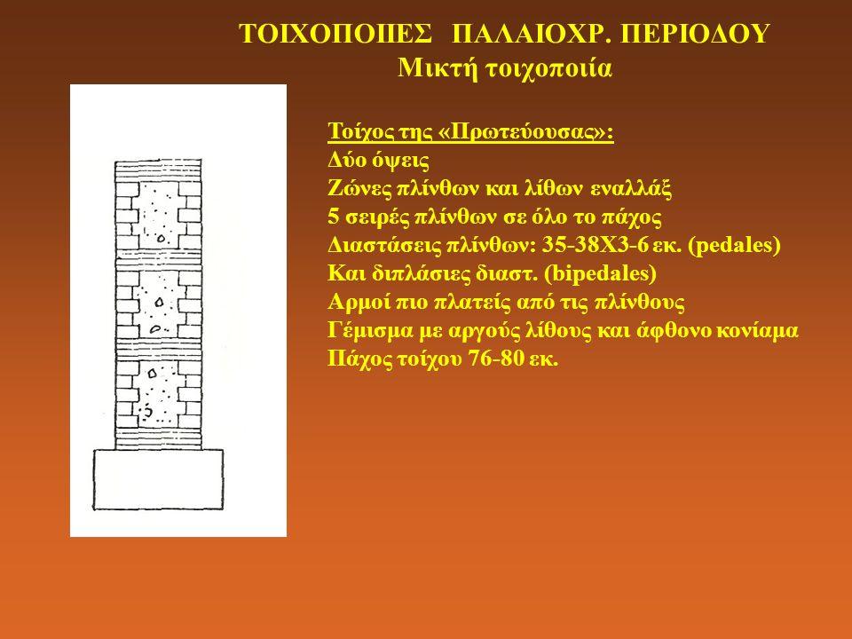 ΤΟΙΧΟΠΟΙΙΕΣ ΠΑΛΑΙΟΧΡ. ΠΕΡΙΟΔΟΥ Μικτή τοιχοποιία Τοίχος της «Πρωτεύουσας»: Δύο όψεις Ζώνες πλίνθων και λίθων εναλλάξ 5 σειρές πλίνθων σε όλο το πάχος Δ