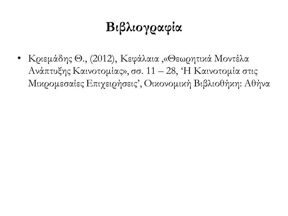 Βιβλιογραφία Κριεμάδης Θ., (2012), Κεφάλαια,«Θεωρητικά Μοντέλα Ανάπτυξης Καινοτομίας», σσ.