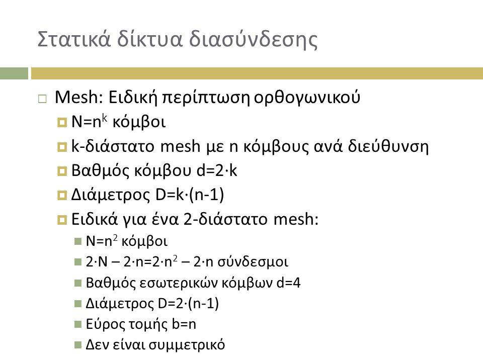 Στατικά δίκτυα διασύνδεσης  Mesh: Ειδική περίπτωση ορθογωνικού  N=n k κόμβοι  k-διάστατο mesh με n κόμβους ανά διεύθυνση  Bαθμός κόμβου d=2∙k  Διάμετρος D=k∙(n-1)  Ειδικά για ένα 2-διάστατο mesh: N=n 2 κόμβοι 2∙N – 2∙n=2∙n 2 – 2∙n σύνδεσμοι Βαθμός εσωτερικών κόμβων d=4 Διάμετρος D=2∙(n-1) Εύρος τομής b=n Δεν είναι συμμετρικό