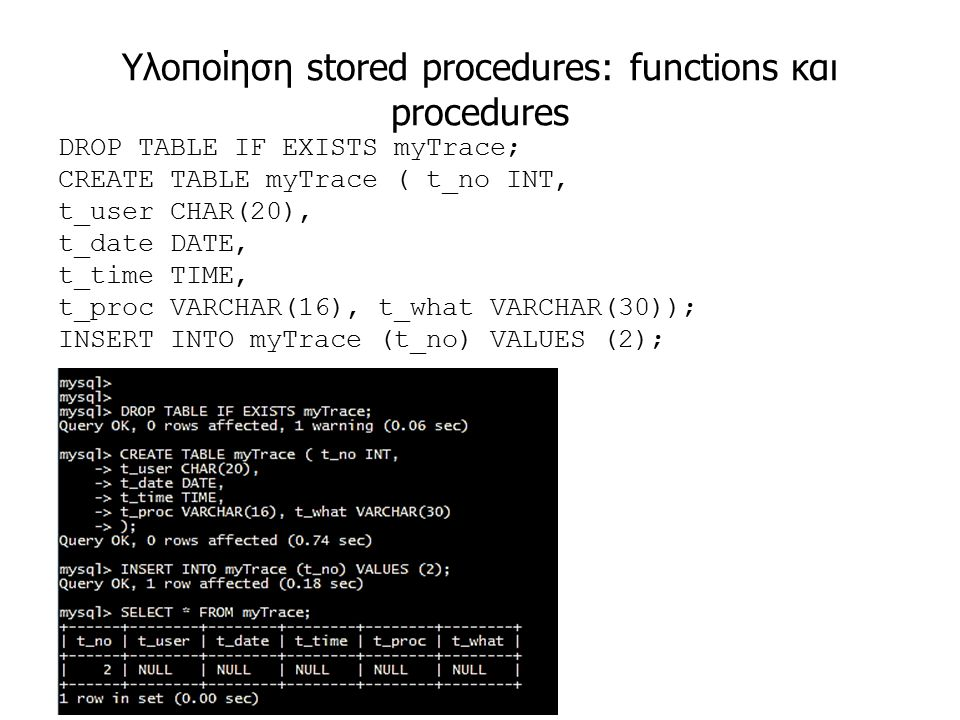 Υλοποίηση stored procedures: functions και procedures DROP TABLE IF EXISTS myTrace; CREATE TABLE myTrace ( t_no INT, t_user CHAR(20), t_date DATE, t_time TIME, t_proc VARCHAR(16), t_what VARCHAR(30)); INSERT INTO myTrace (t_no) VALUES (2);