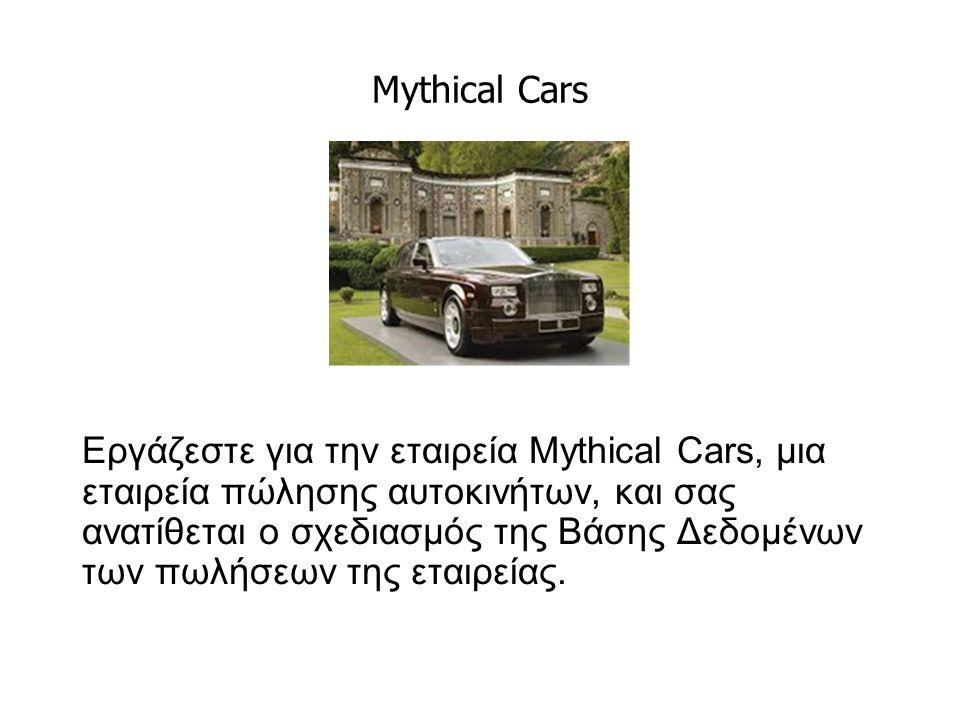 Mythical Cars Εργάζεστε για την εταιρεία Mythical Cars, μια εταιρεία πώλησης αυτοκινήτων, και σας ανατίθεται ο σχεδιασμός της Βάσης Δεδομένων των πωλήσεων της εταιρείας.