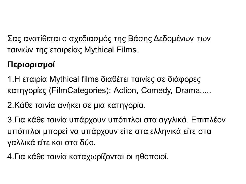 Σας ανατίθεται ο σχεδιασμός της Βάσης Δεδομένων των ταινιών της εταιρείας Mythical Films.