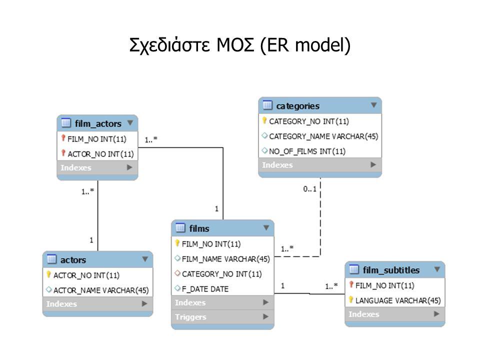 Σχεδιάστε ΜΟΣ (ER model)