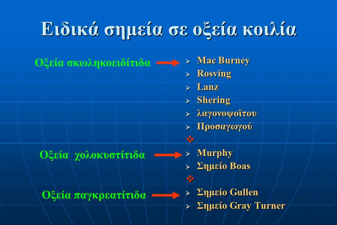 Ειδικά σημεία σε οξεία κοιλία  Mac Burney  Rosving  Lanz  Shering  λαγονοψοϊτου  Προσαγωγού   Murphy  Σημείο Boas   Σημείο Gullen  Σημείο