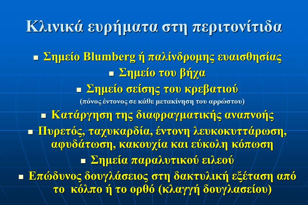 Κλινικά ευρήματα στη περιτονίτιδα Σημείο Blumberg ή παλίνδρομης ευαισθησίας Σημείο Blumberg ή παλίνδρομης ευαισθησίας Σημείο του βήχα Σημείο του βήχα